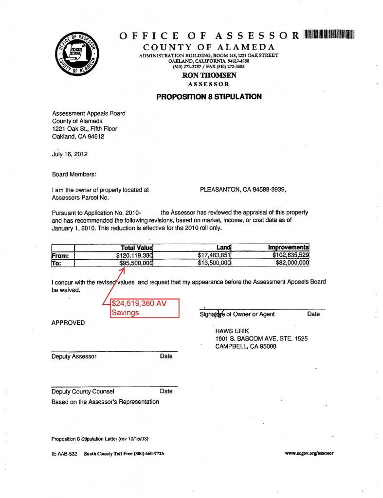 Alameda County Property Tax Stipulation